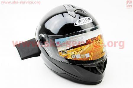 Шлем закрытый HF-122 XL- ЧЕРНЫЙ глянец
