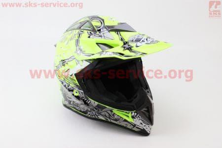 Шлем кроссовый HF-116 L- NEON YELLOW