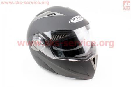 Шлем закрытый с откидным подбородком+очки HF-118 S- ЧЕРНЫЙ матовый