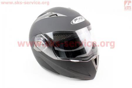 Шлем закрытый с откидным подбородком+очки HF-118 М- ЧЕРНЫЙ матовый