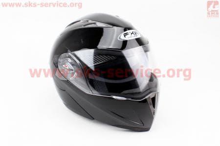 Шлем закрытый с откидным подбородком+очки HF-118 L- ЧЕРНЫЙ глянец