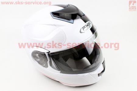 Шлем закрытый с откидным подбородком+очки HF-119 L- БЕЛЫЙ