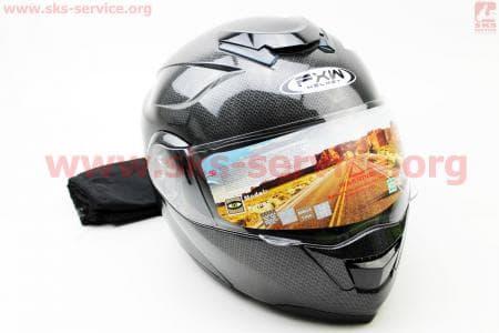 Шлем закрытый с откидным подбородком+очки HF-119 XL- ЧЕРНЫЙ карбоновый