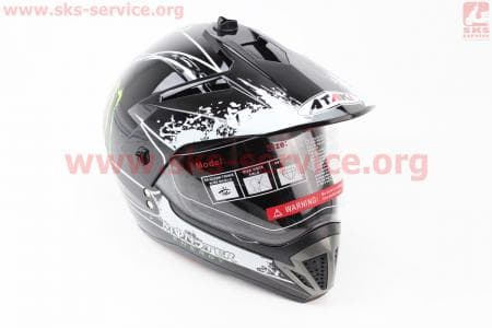 Шлем кроссовый FF103 Monster M - ЧЕРНЫЙ глянец