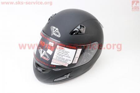 Шлем закрытый + откидные очки HD188 Solid XXL - ЧЕРНЫЙ матовый