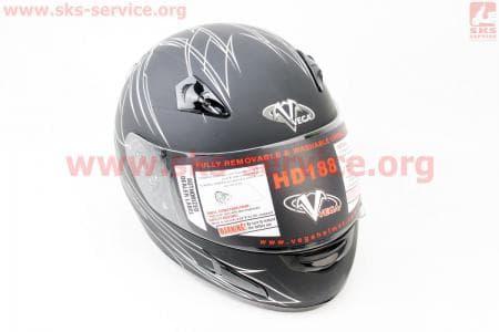 Шлем закрытый + откидные очки HD188 Pinstripe XXL - ЧЕРНЫЙ/серый матовый