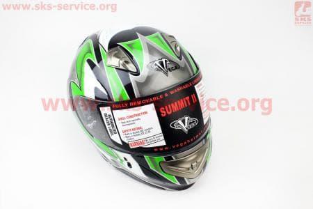 Шлем закрытый с откидным подбородком SUMMIT II Graphic L - ЧЕРНЫЙ/зеленый