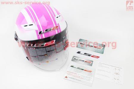 Шлем открытый + откидные очки OF569 Wind Rose XS - БЕЛЫЙ/розовый глянцевый
