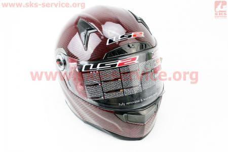 Шлем закрытый + откидные очки, подкачка FF385 CT2 Solid КАРБОНОВЫЙ(100%) S - БОРДОВЫЙ
