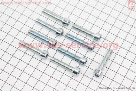 Болт крепления крышки вариатора под шестигранник к-кт 9шт для китайских скутеров на двигатель 50-100сс 4-Т