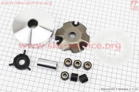 Вариатор передний+втулка+крыльчатка к-кт для китайских скутеров на двигатель 50-100сс 4-Т
