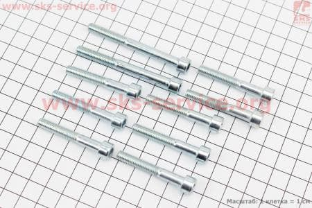 Болт крепления крышки вариатора под шестигранник к-кт 10шт для китайских скутеров на двигатель 125,150сс 4-Т