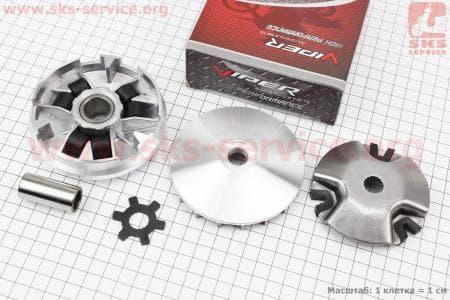 Вариатор передний в сборе на 12мм вал + втулка + крыльчатка для китайских скутеров двигатель 2-T ременной вариатор