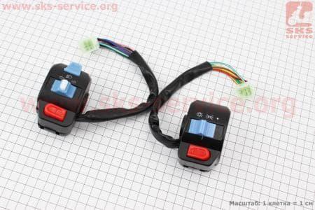 Блок кнопок на руле левый + правый к-кт без рычагов для скутеров Wind (Viper) купить в Украине